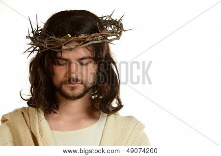 Portrait of Jesus with Crown of thorns isolated on a white background