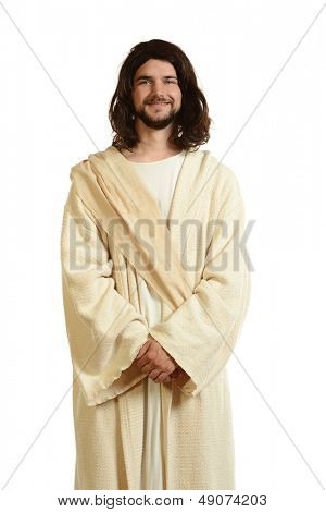 Portrait of Jesus smiling and with hands in front isolated on a white background