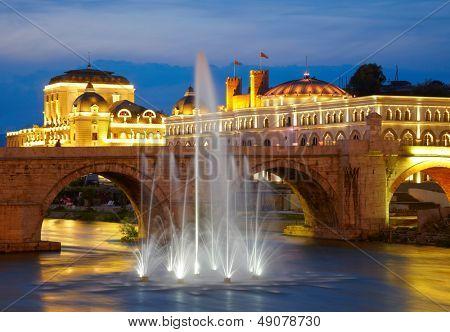 Macedonian's capital city Skopje. Old stone bridge