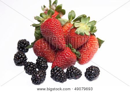 Fresh ripe strawberry with blackberry