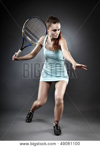 Tennis Lady Ready To Hit The Ball
