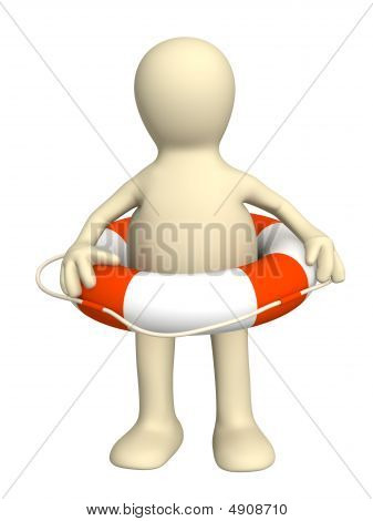 3D Puppet With A Lifebuoy Ring