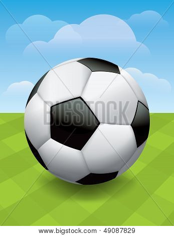 Soccer Ball On Green Soccer Pitch