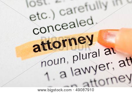 Orange marker on attorney word