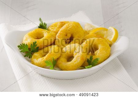 Spanish Cuisine. Fried Squid Rings. Calamares A La Romana.