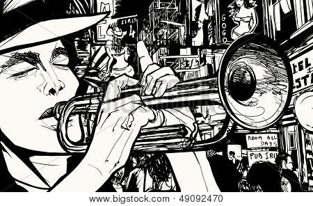 Vector illustration of a man playing trumpet in a red light district
