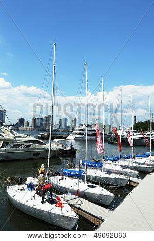 Manhattan Sailing School yachts at the North Cove Marina at Battery Park