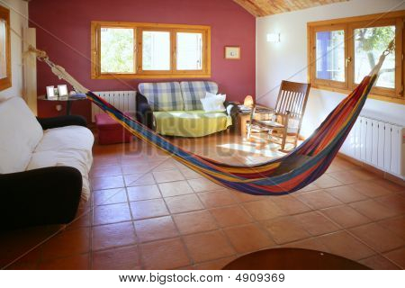 Living Room In Warm Colors, Mexican Hammock