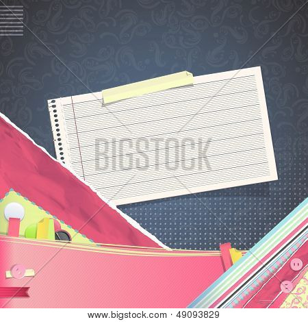 Nice Design With Note Paper On Texture Background. Vector Design.