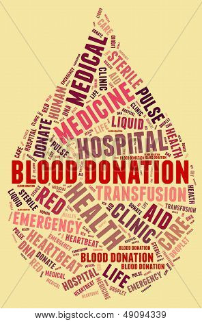 Blood Donation Pictogram With Red Wordings With Yellow Background
