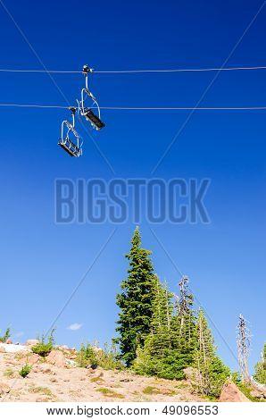Ski Lift And Trees