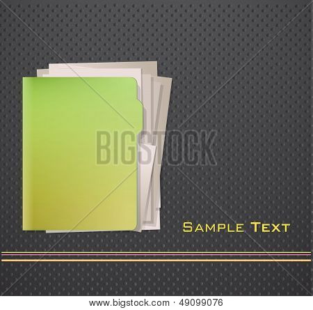 Green Folder With White Paper. Vector Design.