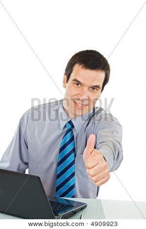 Businessman Show Thumb Up Sign