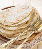 stock photo of malaysian food  - India vegetarian food plain chapatti roti or Flat bread - JPG
