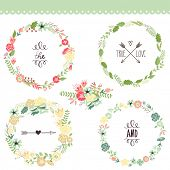 stock photo of holiday symbols  - Floral Frame Collection - JPG
