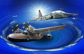 picture of rotor plane  - flying of may kind old classic plane over fantasy blue ocean - JPG