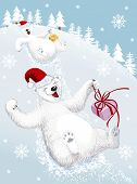 image of snowy hill  - Two funny polar bears sliding down from a snowy hill - JPG