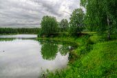stock photo of novosibirsk  - Summer landscape with forest and lake near Belovo village  - JPG