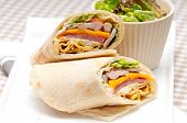 picture of sandwich wrap  - fresh and healthy club sandwich pita bread roll
