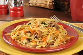 picture of lo mein  - a plate of beef lo mein with carrots and bok choy - JPG