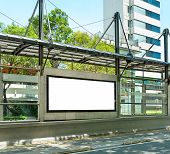 stock photo of bus-shelter  - Big blank billboard in a big bus stop - JPG