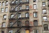 image of brownstone  - Old building with outdoor staircase  - JPG