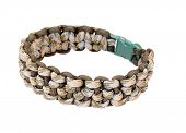 """picture of paracord  - """"Morse code weave"""" Parachute cord bracelet in two camouflage colored cords isolated on a white background - JPG"""