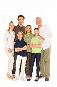 stock photo of girlie  - three generations family standing isolated on white background - JPG