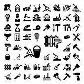 stock photo of hammer drill  - 58 Elegant Construction And Repair Icons Set Created For Mobile - JPG