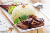 Charsiu Pork  Chinese-flavored Barbecued Pork Rice. Popular Cantonese cuisine. Hong Kong cuisine.