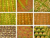 picture of baklava  - Nine pieces of baklava and sweet pastry - JPG