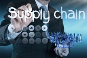 picture of supply chain  - business man writing supply chain management concept by flow from supplier to customer  - JPG