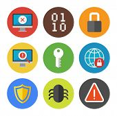 stock photo of maliciousness  - Vector collection of colorful icons in modern flat design style on internet security theme - JPG
