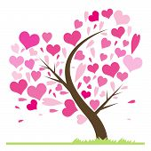 stock photo of friendship day  - Beautiful abstract love tree with hearts - JPG