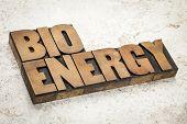 bioenergy word in vintage letterpress wood type on a ceramic tile background poster
