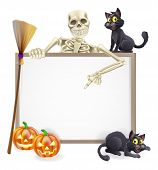 foto of halloween characters  - A Halloween sign with a classic skeleton character pointing down and witch - JPG
