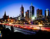 stock photo of cbd  - Melbourne by Night - JPG