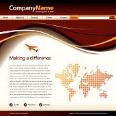 stock photo of web template  - Editable vector website template with a jet and map - JPG