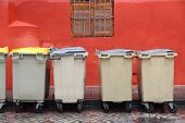 foto of dumpster  - Plastic waste dumpsters in the city of Seville Spain - JPG