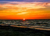 image of yucatan  - The Sun almost gone at a Yucatan Peninsula Beach - JPG