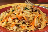 stock photo of lo mein  - Closeup of a plate of beef lo mein - JPG
