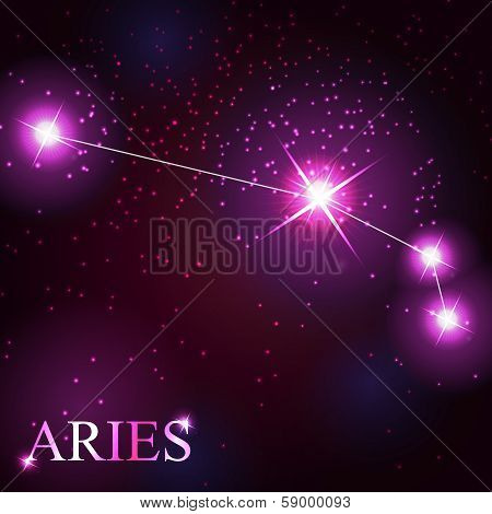 vector of the aries zodiac sign of the beautiful bright stars on