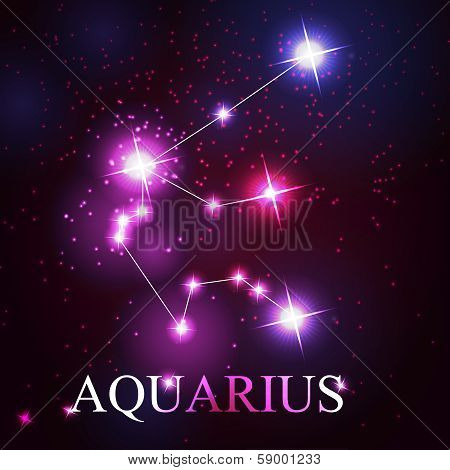 vector of the aquarius zodiac sign of the beautiful bright stars