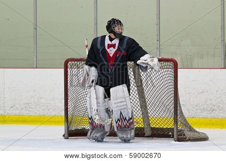 Hockey Goalie In His Net