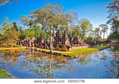 Banteay Srei temple, caled temple of woman, in pink sandstone. Angkor wat complex, near Siem Reap, Cambodia.