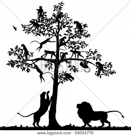 Editable vector silhouette of monkeys in a tree and a pair of lions below with all figures as separate objects