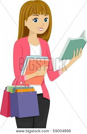 Illustration of a Girl Shopping for Books