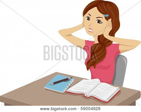 Illustration of a Girl Having Trouble Studying Because of Unwanted Noises