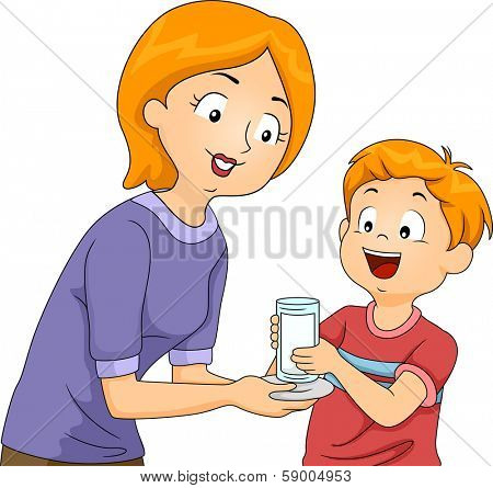Illustration of a Mother Handing a Glass of Milk to Her Son