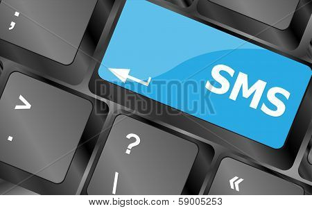 Social Media Key With Sms Text On Laptop Keyboard
